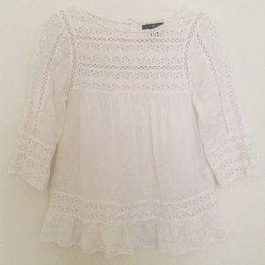 GAP Lace Cutout Ruffled Blouse Top White S